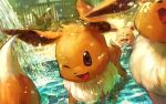 :d eevee fountain grimace no_humans one_eye_closed open_mouth outdoors pokemon pokemon_(creature) smile tentsuu_(tentwo) water water_drop waterfall