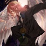 1boy angel angel_devil_(chainsaw_man) angel_wings black_suit business_suit chainsaw_man demon_boy feathered_wings formal halo highres hqls long_hair looking_at_viewer neckwear redhead suit white_wings wings