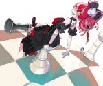 1girl arm_garter bandaged_arm bandages black_bow black_dress black_footwear black_nails bow breasts button_eyes chess_piece chessboard colored_skin cross-laced_footwear double_bun dress fang frilled_bow frills from_side full_body grey_skin hair_bow heterochromia hololive hololive_indonesia impaled kureiji_ollie looking_at_viewer looking_back medium_hair multicolored multicolored_hair multicolored_skin nail_polish open_mouth oversized_object pako pale_skin patchwork_skin pink_hair red_bow red_eyes redhead shoes silver_hair simple_background sitting sleeveless sleeveless_dress small_breasts smile solo stitches streaked_hair sword sword_in_head torn_clothes torn_dress udin_(kureiji_ollie) virtual_youtuber weapon white_background wrist_bow yellow_eyes
