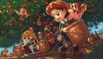 5girls 5health adeleine apple artist_name bandana bandana_waddle_dee basket bell beret blonde_hair blue_eyes blue_hair blue_sky bronto_burt brown_hair capiller_(kirby) carrying caterpillar closed_eyes commentary_request company_name eating fairy fairy_wings flag flamberge_(kirby) food francisca_(kirby) fruit fruit_basket gem_apple gooey hat helmet highres king_dedede kirby kirby_(series) leaf long_hair magolor multiple_girls pink_hair pupa_(kirby) redhead ribbon_(kirby) shadow short_hair sky sunlight super_kirby_clash tree violet_eyes waddle_dee wings yellow_eyes zan_partizanne