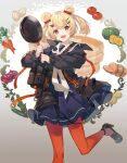 1girl :d animal_ears arknights bangs bear_ears black_dress black_footwear black_jacket blonde_hair candy_hair_ornament carrot dress egg eihi eyebrows_visible_through_hair feet_out_of_frame food food-themed_background food-themed_hair_ornament frying_pan gold_trim gradient gradient_background gummy_(arknights) hair_ornament hairclip high_heels highres holding holding_frying_pan jacket leg_up long_sleeves looking_at_viewer onion open_clothes open_jacket open_mouth pancake pantyhose potato pouch pumpkin red_legwear short_hair smile solo standing standing_on_one_leg tomato two_side_up unzipped zucchini_(vegetable)