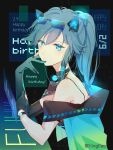 1girl animal_ears asymmetrical_gloves bangs black_gloves black_hair blue_eyes cat_ears character_name closed_eyes closed_mouth eyewear_on_head fake_animal_ears fu_hua gloves hair_between_eyes hair_ornament hand_on_own_chin happy_birthday highres honkai_(series) honkai_impact_3rd jacket looking_at_viewer mismatched_gloves neon_trim ponytail short_sleeves solo uneven_gloves whiteshirt