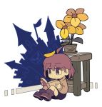 1girl bangs black_eyes black_shorts book boots brown_footwear brown_hair castle chara_(undertale) closed_mouth flag flower flower_pot full_body holding holding_book houten_(dre_a_mer) leaf leaf_on_head long_sleeves on_floor reading shirt short_hair shorts simple_background sitting table undertale white_background wooden_floor yellow_flower