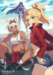 3girls animal_ears artist_name bangs bare_shoulders blonde_hair blue_eyes blunt_bangs blunt_ends breasts caenis_(fate) clouds collarbone commentary_request cowboy_shot dark-skinned_female dark_skin day denim denim_shorts eyebrows_visible_through_hair fate/grand_order fate_(series) full_body green_eyes hair_between_eyes hands_on_hips highres jewelry long_hair long_sleeves looking_at_viewer martha_(fate) medium_breasts meiji_ken midriff mordred_(fate) mordred_(fate/apocrypha) multiple_girls navel necklace outdoors ponytail short_hair shorts sitting sitting_on_stairs sky sleeveless small_breasts stairs stomach tattoo teeth very_long_hair watermark white_hair