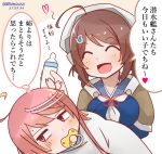 2girls ahoge baby_bottle blue_serafuku bottle brown_hair brown_shawl chougei_(kancolle) closed_eyes commentary_request hair_ornament hair_rings i-58_(kancolle) kantai_collection long_hair mitchell_(dynxcb25) multiple_girls neckerchief open_mouth pacifier pink_eyes pink_hair short_hair smile translation_request white_neckwear
