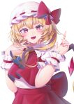 1girl :d absurdres ascot back_bow bangs blush bow commentary_request crystal eyebrows_visible_through_hair fang fat123 flandre_scarlet frilled_shirt_collar frills hair_between_eyes hands_up hat hat_bow highres index_finger_raised looking_at_viewer mob_cap nail_polish one_side_up open_mouth pointy_ears puffy_short_sleeves puffy_sleeves red_bow red_eyes red_nails red_skirt red_vest short_sleeves simple_background skirt slit_pupils smile solo star_(symbol) star_in_eye symbol_in_eye touhou upper_body vest white_background white_headwear wings wrist_cuffs yellow_neckwear