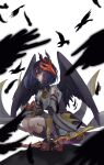 1girl arrow_(projectile) asymmetrical_hair bangs bird bird_mask bird_wings black_bodysuit black_footwear black_gloves bodysuit bow_(weapon) commentary_request crow detached_sleeves feathered_wings feathers genshin_impact geta gloves hair_over_one_eye highres japanese_clothes jewelry kneehighs kujou_sara long_sleeves looking_at_viewer mask mask_on_head necklace purple_hair red_footwear ritsuka_mash simple_background solo squatting tassel tengu-geta tengu_mask weapon white_background wide_sleeves wings yellow_eyes