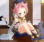 1girl animal_ears animal_print bag bangs_pinned_back black_shorts cat cat_ears cat_girl cat_print cat_tail cat_teaser commentary_request detached_sleeves diona_(genshin_impact) door forehead genshin_impact gloves green_eyes hair_ribbon hat highres holding long_sleeves paw_print pink_hair playing puffy_detached_sleeves puffy_shorts puffy_sleeves ribbon short_hair shorts sidelocks sitting smile tail thick_eyebrows white_gloves wooden_floor yoboshi