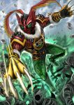 1boy absurdres animal_hands animal_print another_ooo_(zi-o) another_rider_(zi-o) army arthropod_legs belt bird bird_wings blue_sky bug claws clenched_hand clenched_teeth core_medal creature evil feathered_wings feathers fighting_stance flying fur_trim grasshopper green_armor green_eyes green_footwear hawk head_wings helmet highres jungle kamen_rider kamen_rider_zi-o_(series) medal monster nature shinpei_(shimpay) sky studded_belt teeth tiger tiger_print wings yellow_armor yummy_(ooo)
