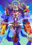 1boy absurdres armor blue_background blue_eyes cape commentary digimon digimon_(creature) digital_dissolve english_commentary extra_eyes gradient gradient_background green_background highres horns looking_at_viewer multiple_horns nateasora omegamon omegamon_alter-s solo spikes violet_eyes yellow_eyes