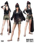 1girl absurdres artist_name bangs black_eyes black_hair black_jacket black_tank_top breasts brown_shorts character_name guweiz hairband hands_in_pockets highres holding holding_clothes holding_jacket jacket jacket_on_shoulders jacket_removed long_hair multiple_views original ponytail red_footwear red_hairband sandals short_shorts shorts sidelocks simple_background small_breasts standing tank_top white_background