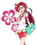 1girl apron asymmetrical_bangs bangs commentary dress earrings feather_earrings feathers gesture hair_between_eyes hair_tie holding holding_menu jewelry kayabakoro long_hair looking_at_viewer low_ponytail maid_apron menu neckerchief open_mouth precure red_dress red_neckwear redhead short_dress short_sleeves smile solo takizawa_asuka tropical-rouge!_precure violet_eyes waitress white_apron white_background wristband