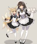 2girls :d absurdres alternate_costume animal_ears apron arknights black_dress black_footwear blonde_hair blue_neckwear blue_ribbon blush braid breasts brown_hair cake cake_slice closed_mouth collar cup dress enmaided food fox_ears fox_girl fox_tail frilled_apron frilled_dress frills green_eyes hair_rings heart highres holding holding_hands holding_tray infection_monitor_(arknights) interlocked_fingers juliet_sleeves leg_up long_sleeves looking_at_viewer magallan_(arknights) maid maid_headdress medium_breasts multicolored_hair multiple_girls multiple_tails neck_ribbon open_mouth pantyhose puffy_sleeves ribbon sigm@ smile standing standing_on_one_leg streaked_hair suzuran_(arknights) tail teacup teapot tray two-tone_hair white_apron white_hair white_legwear yellow_eyes yellow_neckwear yellow_ribbon