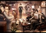 6+boys ashtray belt black_pants cabinet cat cellphone character_request closed_eyes clothes_hanger couch cup doughnut food formal grey_suit holding holding_teapot hood hood_down hoodie hoshino_issei indoors jacket judge_eyes kaito_masaharu lamp leather leather_jacket microwave mug multiple_boys office pants phone plate refrigerator rug sepia shirt shoes sitting spoilers sugiura_fumiya suit table taking_picture teapot tenyo0819 tsukumo_makoto white_shirt yagami_takayuki