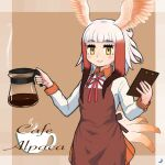 1girl adapted_costume apron bangs bird_girl bird_tail bird_wings black_hair blush coffee coffee_pot collar collared_shirt commentary_request cowboy_shot eyebrows_visible_through_hair head_wings japanese_crested_ibis_(kemono_friends) kemono_friends long_sleeves neck_ribbon obsession36 pleated_skirt red_apron red_collar red_neckwear red_shirt red_skirt ribbon shirt short_hair sidelocks skirt solo tail two-tone_shirt white_hair white_shirt wings yellow_eyes