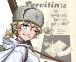 1girl blonde_hair blue_eyes blue_hairband breasts character_request clothing_request copyright_request drugs eyebrows_visible_through_hair finnish_army finnish_text fur_hat glass hairband hat medium_breasts medium_hair methamphetamine military military_uniform one_eye_closed open_mouth ostwindprojekt pervitin ponytail skis smile sweatdrop tagme uniform ushanka water