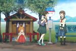 3girls animal_ears bag bangs bench blunt_bangs brown_eyes brown_hair bus_stop child field fox_ears fox_girl fox_tail frown grass hair_ornament hairclip hakama hands_on_own_face happy japanese_clothes kneehighs light_brown_hair long_hair looking_at_another low_twintails mary_janes miko mountainous_horizon multiple_girls open_mouth original outdoors pleated_skirt rope rural school_bag school_uniform serafuku shide shimenawa shoes short_hair shrine sign signature sitting skirt smile sneakers tabi tail torla16 tree twintails twitter_username walking zouri