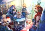 1girl 3boys asymmetrical_wings blonde_hair blue_eyes blue_flower blue_hair blue_rose brown_hair cake crossed_legs cup cupcake dessert dizzy_(guilty_gear) dog eyepatch family father_and_daughter father_and_son flower food guilty_gear guilty_gear_xrd hand_in_pocket husband_and_wife ky_kiske long_hair mother_and_son multiple_boys plant red_eyes rose shinrin_kusaba short_hair sin_kiske sitting sitting_on_object sol_badguy sunlight tea teacup twintails wings