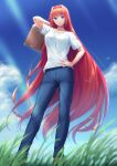 1girl aozaki_aoko arm_up bangs blue_eyes blue_pants blue_sky breasts clouds day denim hair_between_eyes hair_intakes hand_on_hip holding holding_suitcase jeans long_hair looking_at_viewer medium_breasts melty_blood miyai_sen open_mouth outdoors pants pocket redhead shirt short_sleeves sidelocks sky smile solo suitcase sunlight t-shirt tsukihime type-moon very_long_hair white_shirt wind