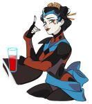 1girl autobot black_gloves black_hair black_nails blue_eyes bodysuit english_commentary eyeliner gloves hair_behind_ear hair_ornament hair_stick headdress makeup ninterbit pale_skin personification pointing pointing_up red_bodysuit red_eyeliner smile solo tied_hair transformers windblade