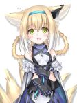1girl :d animal_ear_fluff animal_ears arknights bangs bare_shoulders black_gloves blonde_hair blue_hairband blush braid breasts cloak covered_collarbone eyebrows_visible_through_hair flying_sweatdrops fox_ears fox_girl fox_tail gloves green_eyes hair_between_eyes hair_rings hairband highres kitsune langley1000 long_hair looking_at_viewer open_mouth purple_shirt purple_skirt shirt simple_background skirt sleeveless sleeveless_shirt small_breasts smile solo suzuran_(arknights) tail twin_braids white_background white_cloak white_shirt