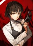 1girl absurdres braid brown_hair eyebrows_visible_through_hair highres long_sleeves looking_at_viewer mask nasubin_(user_tjyp5584) niijima_makoto persona persona_5 plaid red_background red_eyes school_uniform short_hair simple_background skirt solo sweater turtleneck turtleneck_sweater upper_body white_background