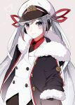 1girl a_cake_(fecakeeee) beige_background black_gloves black_neckwear buttons coat commentary crab double-breasted fur-trimmed_coat fur-trimmed_sleeves fur_trim gloves hair_ribbon hand_in_pocket hat hatsune_miku highres jacket light_blue_eyes light_blue_hair light_smile long_hair looking_at_viewer military military_uniform naval_uniform necktie red_ribbon red_shirt ribbon sailor sailor_hat shirt snowflake_print solo standing twintails uniform upper_body very_long_hair vocaloid white_headwear white_jacket yuki_miku yuki_miku_(2022)