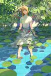 1girl barefoot blonde_hair dress highres hiko_(scape) leaf lily_pad looking_at_viewer original partially_submerged sitting water white_dress