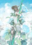 1girl aqua_eyes aqua_hair boku_no_natsuyumi braid demizu_posuka dress flower green_hair hat highres long_hair minigirl morning_glory original straw_hat sundress white_dress