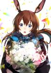 1girl absurdres amiya_(arknights) animal_ears arknights black_jacket blue_eyes bouquet brown_hair can_d ear_piercing flower gradient gradient_background highres jacket jewelry looking_at_viewer multiple_rings neck_ring open_clothes open_jacket open_mouth piercing rabbit_ears rabbit_girl ring rose thumb_ring white_flower white_rose
