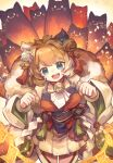1girl absurdres animal_ears bell blue_eyes breasts cat cat_ears fang fur_trim hair_bell hair_ornament highres jingle_bell kuuron_(moesann17) medium_hair miya_(p&d) multicolored_hair neck_bell open_mouth orange_hair puzzle_&_dragons skirt solo tagme talisman too_many too_many_cats white_hair wide_sleeves