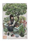 1girl absurdres bangs bathtub black_hair braid brown_eyes cat dress flower highres katakai leaf long_sleeves original rubber_duck tree yellow_fur