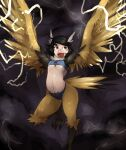 1girl bird_legs bird_tail black_hair blue_tube_top bob_cut breasts commentary commission electricity english_commentary feathered_wings feathers flying full_body galaxyspark harpy head_wings highres legendary_pokemon lightning looking_to_the_side looking_up midriff monster_girl navel neck_ruff open_mouth outstretched_arms personification pokemon short_hair small_breasts solo storm_cloud tail tail_feathers talons thunder under_boob winged_arms wings yellow_eyes yellow_feathers yellow_wings zapdos