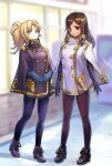 2girls alternate_costume ankle_boots blonde_hair blue_eyes blue_gloves boots braid brown_legwear buttons character_request closed_mouth double-breasted eye_of_horus facial_mark gloves hair_tubes kagawa_ichigo long_hair looking_at_viewer multiple_girls overwatch pantyhose pharah_(overwatch) ponytail purple_footwear purple_gloves purple_legwear side_braid standing