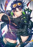 1boy alternate_costume arm_belt artist_name bangs battle_tendency belt birthday black_gloves black_jacket black_pants blue_eyes bola_(weapon) brown_hair character_name chromatic_aberration clacker commentary_request dated glint gloves goggles goggles_on_head happy_birthday jacket jojo_no_kimyou_na_bouken joseph_joestar joseph_joestar_(young) kuren leather leather_jacket light_particles looking_at_viewer male_focus midriff_peek open_clothes open_jacket orange-tinted_eyewear pants pectoral_cleavage pectorals purple_shirt quilted_coat shiny shiny_clothes shiny_hair shirt short_hair signature smile solo streamers teeth tinted_eyewear toned toned_male torn_clothes torn_shirt