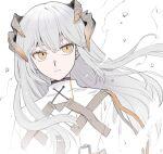 1girl arknights bangs dragon_girl dragon_horns grey_hair highres horns long_hair orange_eyes parted_lips saria_(arknights) solo upper_body vhdtyzusixc7fai white_background