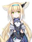 1girl :o animal_ear_fluff animal_ears arknights bangs bare_shoulders black_gloves blonde_hair blue_hairband blush breasts cloak covered_collarbone eyebrows_visible_through_hair fox_ears fox_girl fox_tail gloves green_eyes hair_between_eyes hairband highres kitsune langley1000 long_hair looking_at_viewer low_twintails parted_lips purple_shirt purple_skirt shirt simple_background skirt sleeveless sleeveless_shirt small_breasts solo suzuran_(arknights) tail twintails very_long_hair white_background white_cloak white_shirt