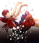 1boy absurdres akatsuki_(naruto) blood blood_from_mouth bubble closed_eyes death highres in_water naruto_(series) naruto_shippuuden ninja puppet red_robe redhead sasori_(naruto) solo sword torn_clothes torn_robe weapon yi_(199702090505)