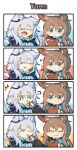 2girls amiya_(arknights) animal_ear_fluff animal_ears arknights ascot black_jacket cat_ears cat_girl earpiece frilled_ascot frills highres jacket jewelry mascotmask multiple_girls multiple_rings neck_ring notepad open_mouth pen rabbit_ears rabbit_girl ring rosmontis_(arknights) thumb_ring white_hair