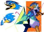 1boy beak berdly_(deltarune) bird_boy blue_skin colored_skin deltarune holding holding_weapon monster_boy multiple_views orange_scarf polearm scarf smile spear weapon yojigazou yojio_(2188)