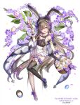 1girl :d animal_ears apron armlet artist_name asymmetrical_legwear back_bow basket between_fingers black_headwear black_legwear bow brown_hair candy copyright_name detached_hood duranta_(flower_knight_girl) easter easter_egg egg fishnet_legwear fishnets flower flower_knight_girl flower_ornament food frilled_apron frills hat hat_bow highres holding holding_basket lollipop long_hair looking_at_viewer mismatched_legwear object_namesake open_mouth playboy_bunny purple_bow rabbit_ears shoes single_leg_pantyhose single_thighhigh smile solo thigh-highs thighlet violet_eyes white_apron white_footwear wrist_cuffs yuasa_akira