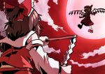 2girls battle blonde_hair brown_hair covered_eyes crystal fighting_stance flandre_scarlet from_behind gagamatsu gohei hakurei_reimu multiple_girls neckerchief nontraditional_miko one-hour_drawing_challenge outstretched_arms red_sky short_ponytail sky touhou