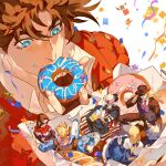 +_+ 3girls 4boys aqua_eyes artist_logo battle_tendency birthday black_hair blonde_hair blurry blurry_background box brown_gloves brown_hair caesar_anthonio_zeppeli chinese_commentary commentary_request confetti dated doughnut eating erina_pendleton fingerless_gloves fingernails food food_on_face gloves highres holding holding_box holding_food in_food jacket jojo_no_kimyou_na_bouken jonathan_joestar joseph_joestar joseph_joestar_(young) lisa_lisa long_hair looking_at_another male_focus miniboy minigirl multiple_boys multiple_girls pastry_box phantom_blood red_jacket robert_e._o._speedwagon short_hair size_difference streamers suzi_q time_paradox watermark xianlan