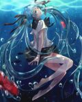 1girl 2015 barefoot black_bow black_neckwear black_ribbon black_sailor_collar black_skirt blue_hair blurry blurry_foreground bottle_miku bow bowtie collared_shirt dated fish floating_hair from_side green_eyes hair_ribbon hatsune_miku highres long_hair miniskirt na_yeon parted_lips pleated_skirt ribbon sailor_collar sailor_shirt shirt skirt solo twintails underwater very_long_hair vocaloid white_shirt