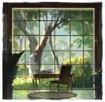1girl absurdres bangs bird border brown_hair carpet cat chair closed_eyes dress grass highres long_hair morncolour original picture_frame plant potted_plant scenery skirt_hold solo table tile_floor tiles tree white_bird white_border white_dress window