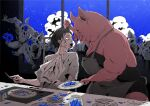 1boy apron blood blood_from_mouth eating glass horror_(theme) night original pig_head pig_man sakiyama8ma scared short_hair surreal window
