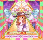 1girl alison_(alison_airlines) blush brown_hair building cellphone cover cropped_torso english_text flower frown glasses hand_on_own_cheek hand_on_own_face hat illuminati night night_sky phone school_uniform short_twintails sky skyscraper smartphone torii touhou twintails usami_sumireko zener_card