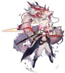 1girl alchemy_stars bandeau bangs belt black_belt black_footwear black_gloves boots breasts cherry_blossoms coat dragon drawing_sword eastern_dragon gloves highres hiiro_(alchemy_stars) holding holding_sword holding_weapon katana midriff navel official_art open_clothes open_coat pants pink_eyes pink_hair sarashi scabbard sheath short_hair small_breasts solo standing stomach strapless sword tourdog_studio transparent_background tube_top unsheathing weapon white_pants