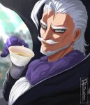 1boy ahoge artist_name beard black_cape blue_eyes boku_no_hero_academia cape cup facial_hair gentle_criminal gloves hair_slicked_back highres holding holding_cup long_hair looking_at_viewer male_focus mustache procsan purple_gloves solo tea teacup upper_body white_hair