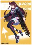 1girl absurdres barcode black_jacket black_legwear blush breasts bullpup character_name closed_mouth eyebrows_visible_through_hair fikkyun girls_frontline gun hair_ribbon highres holding holding_weapon jacket jumping lips long_hair looking_at_viewer medium_breasts purple_hair ribbon rifle shirt shoes side_ponytail simple_background skirt smile sneakers sniper_rifle solo thigh-highs violet_eyes wa2000_(girls'_frontline) walther walther_wa_2000 weapon white_shirt white_skirt